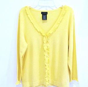 George yellow ruffle cardigan